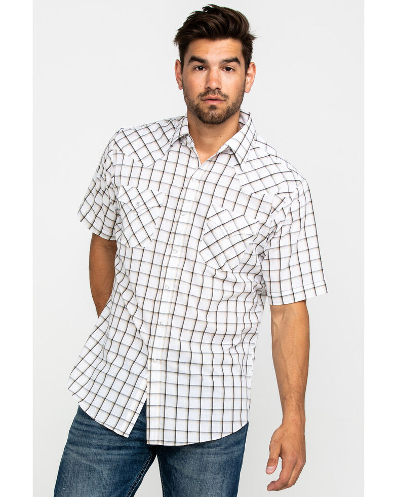 Ely Cattleman Men's Assorted Multi Windowpane Plaid Short Sleeve Western Shirt , Multi, hi-res