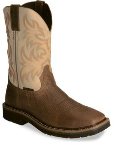 "Justin Men's Stampede 11"" Steel Toe Western Work Boots, Copper, hi-res"