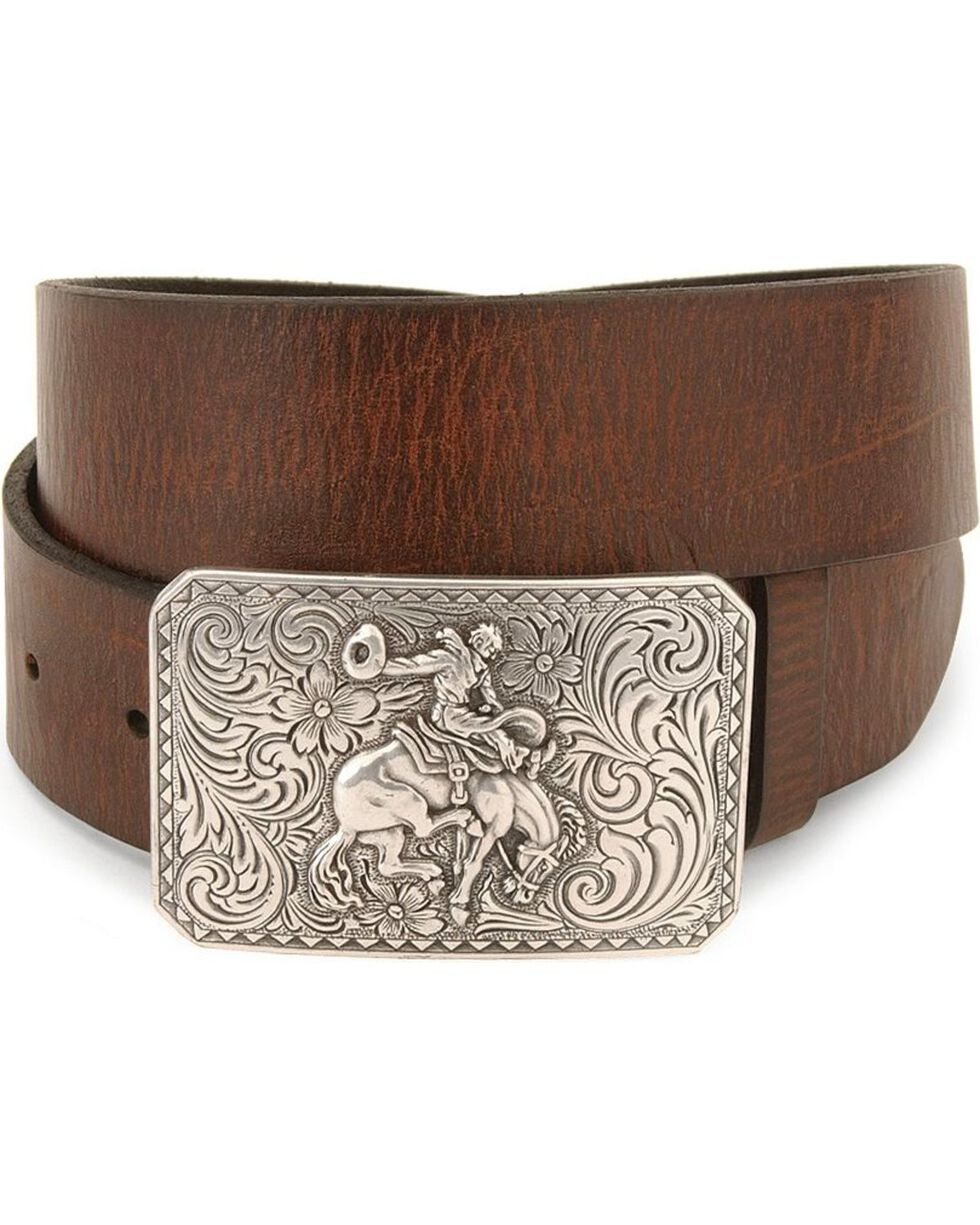 Nocona Men's Smooth Leather Belt and Buckle, Brown, hi-res