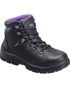 Avenger Women's Waterproof Steel Safety Toe Hiking Boots, Black, hi-res