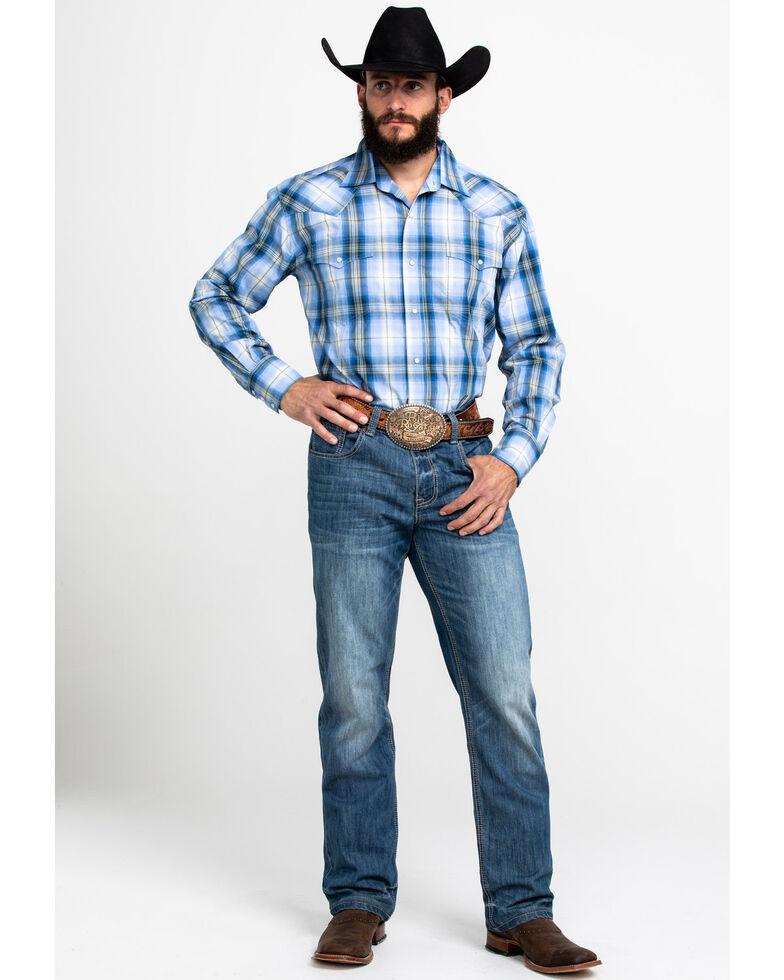 Roper Men's Amarillo Blue Grass Plaid Long Sleeve Western Shirt , Blue, hi-res