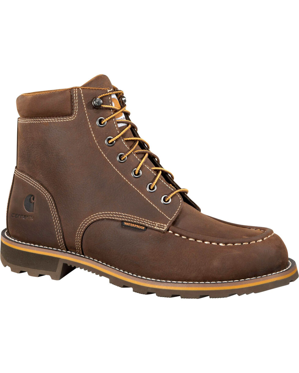 "Carhartt Men's 6"" Waterproof Lug Work Boots - Steel Toe, Chocolate, hi-res"