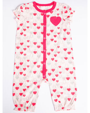 Shyanne Infant Girls' Hearts Romper Ruffle Short Sleeve Onesie , Pink, hi-res