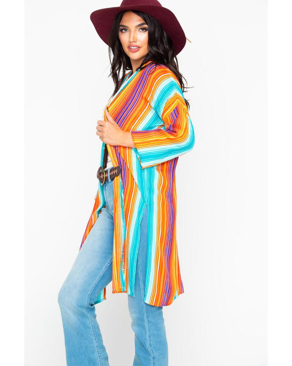 Rock & Roll Cowgirl Women's Serape Print Long Duster, Multi, hi-res