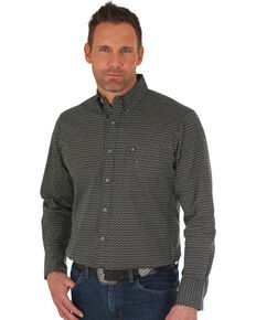 Wrangler Men's Black Geo Print Performance Long Sleeve Western Shirt , Black/white, hi-res