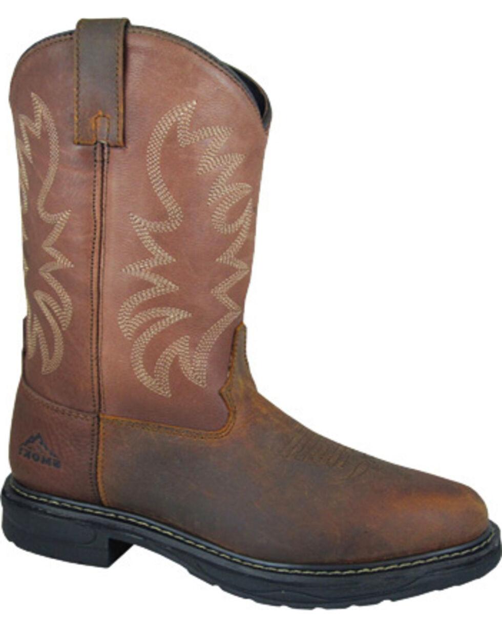 Smoky Mountain Men's Buffalo Wellington Work Boots - Steel Toe, Brown, hi-res