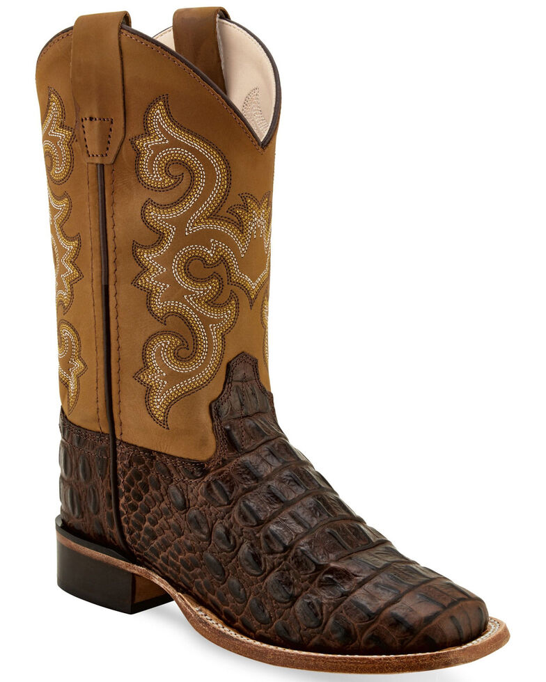 Old West Youth Boys' Brown Faux Horn Gator Western Boots - Wide Square, Chocolate, hi-res