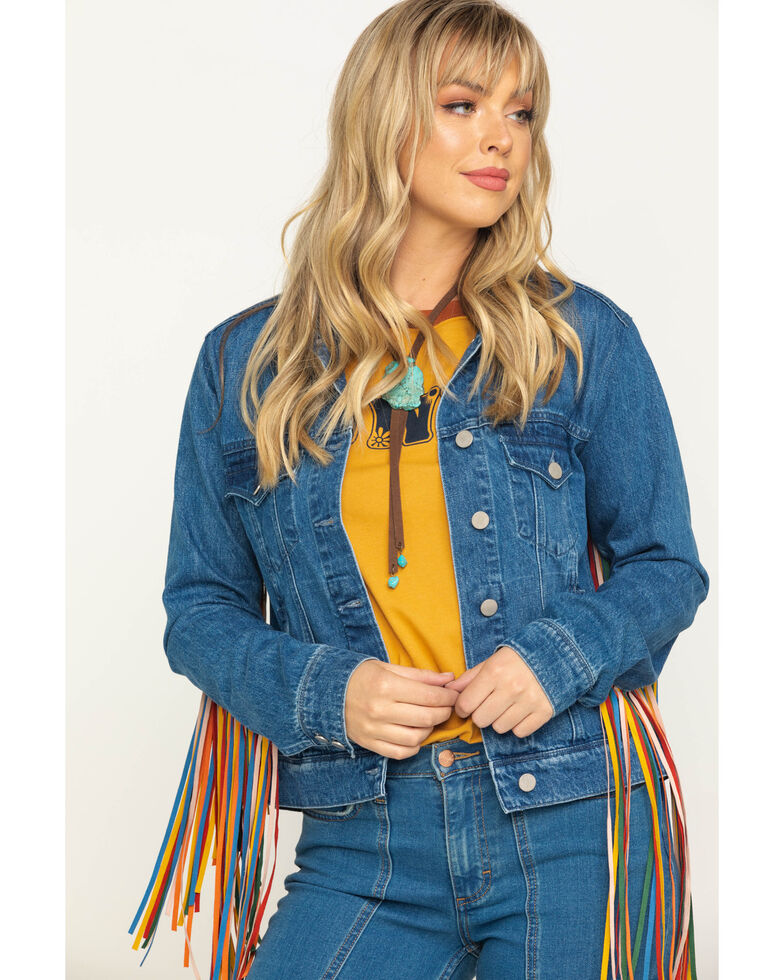 Honey Creek by Scully Women's Serape Colored Fringe Denim Jacket, Multi, hi-res