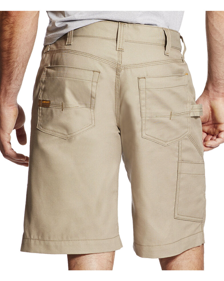 Ariat Rebar Men's Khaki Canvas Work Shorts, Beige/khaki, hi-res