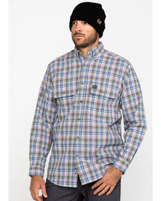 Wrangler Riggs Men's Khaki Plaid Long Sleeve Work Shirt - Tall , Beige/khaki, hi-res