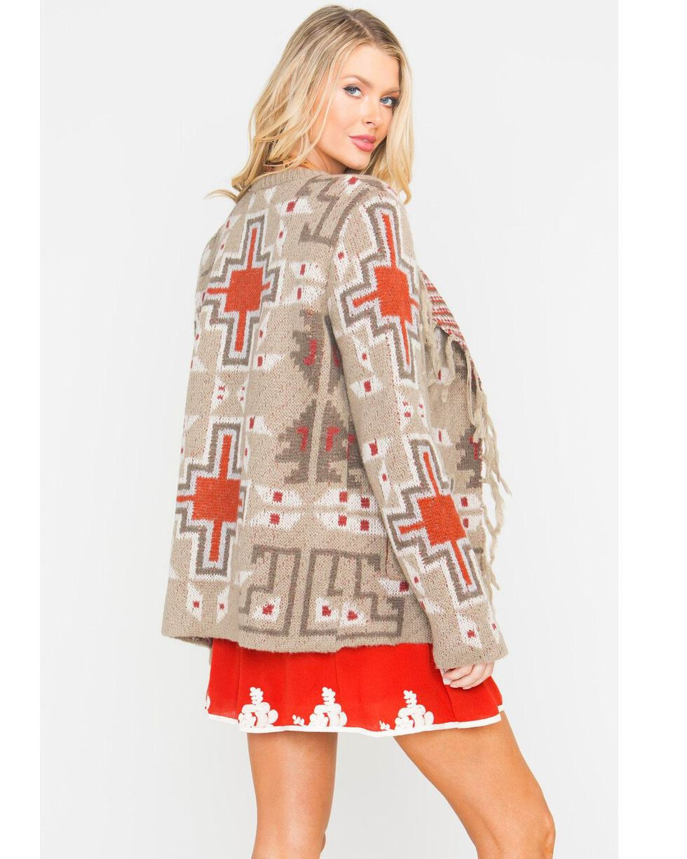 MM Vintage Women's Grey Aztec Print Sweater, Taupe, hi-res