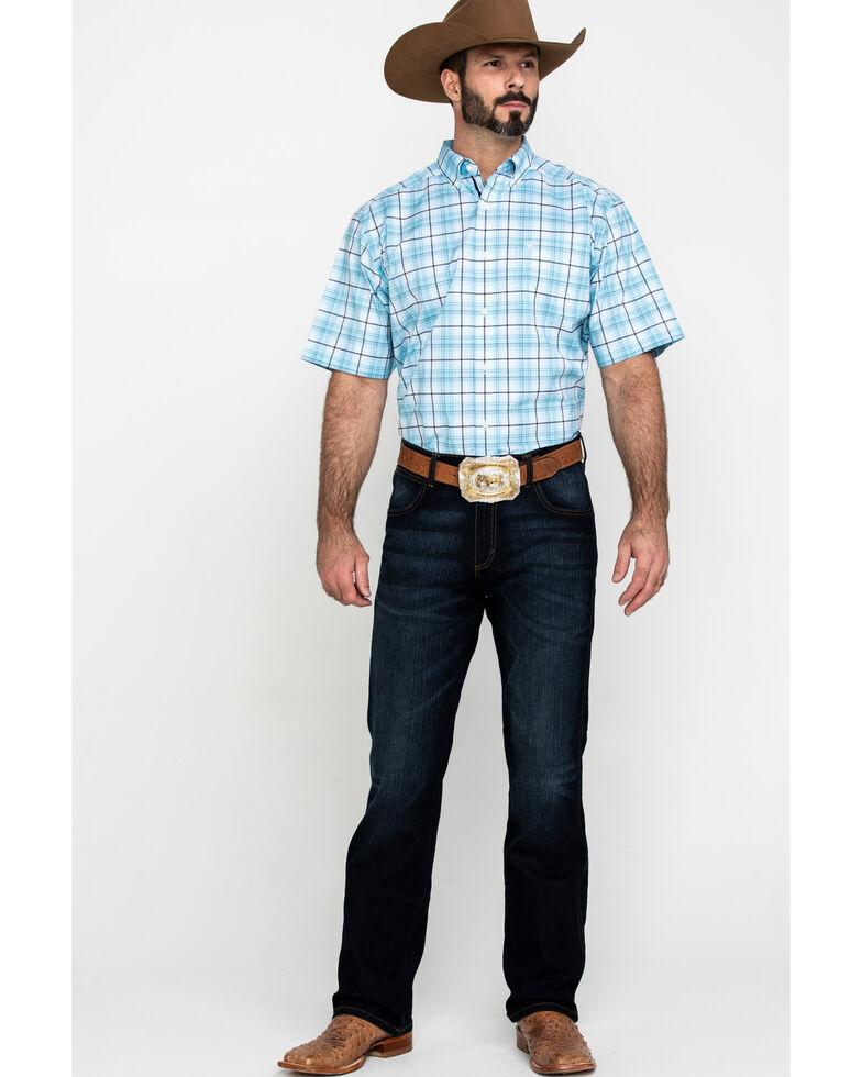 Ariat Men's Larkspur Med Plaid Short Sleeve Western Shirt , Blue, hi-res