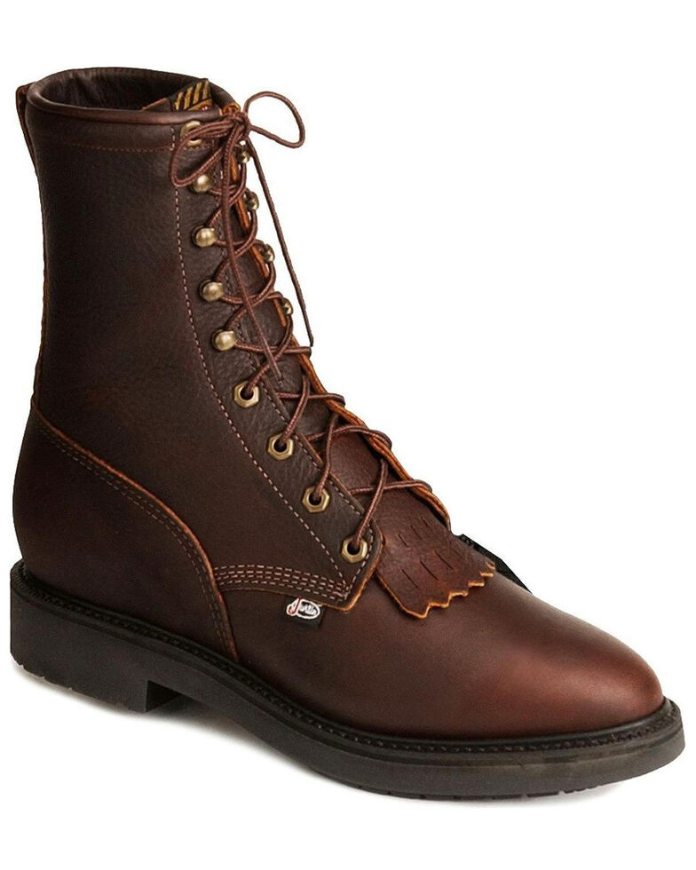 Justin Men's Lace Up Work Boots, Rust Copper, hi-res