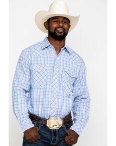 Resistol Men's Big Oak Small Plaid Long Sleeve Western Shirt , Light Blue, hi-res