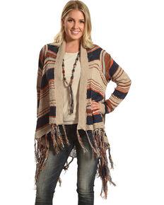 Petrol Women's Striped Knitted Tassel Trim Sweater, Multi, hi-res