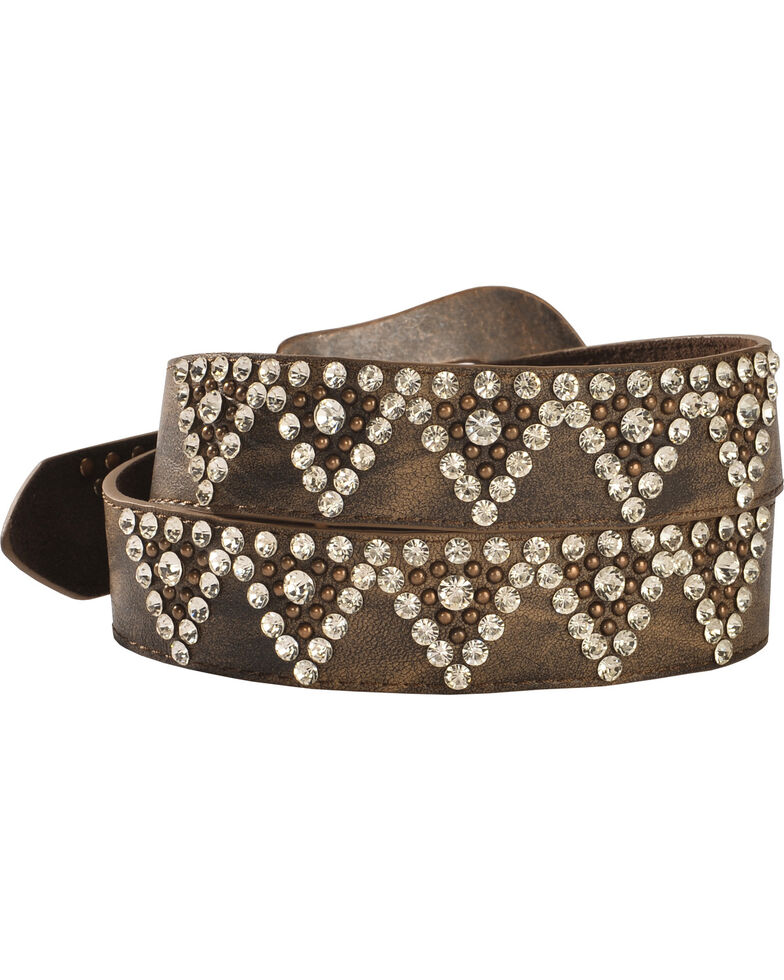 Shyanne Women's Bling Belt, Brown, hi-res