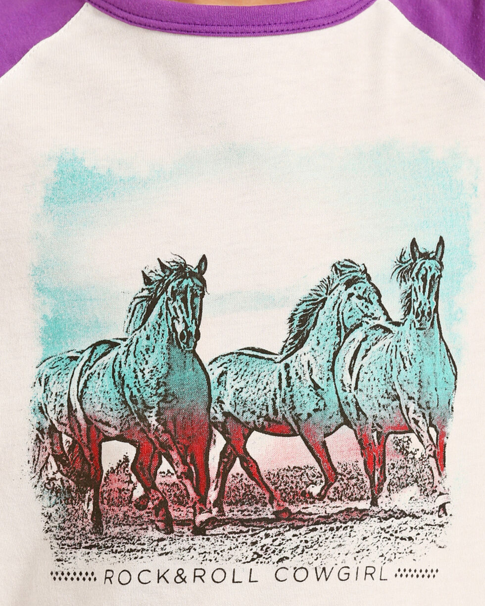 Rock & Roll Cowgirl Girls' Running Horses Baseball Tee, Violet, hi-res