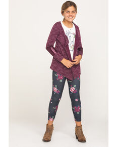 Shyanne Girls' Burgundy Sweater Horse Tee Legging Set, Burgundy, hi-res