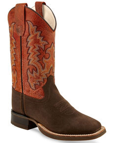 """Old West Girls' Brown 11"""" Western Boots - Wide Square Toe, Brown, hi-res"""