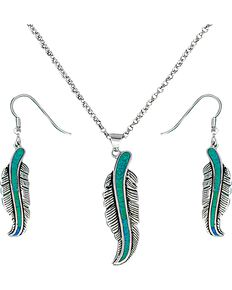 Montana Silversmiths Women's Storyteller Feather Jewelry Set, Silver, hi-res