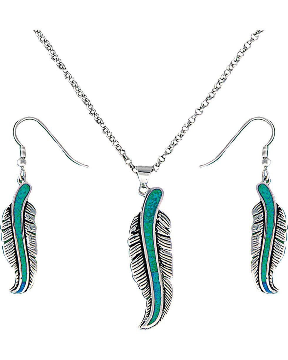 Montana Silversmiths Women's Storyteller Feather Jewelry Set, Silver, hi-res