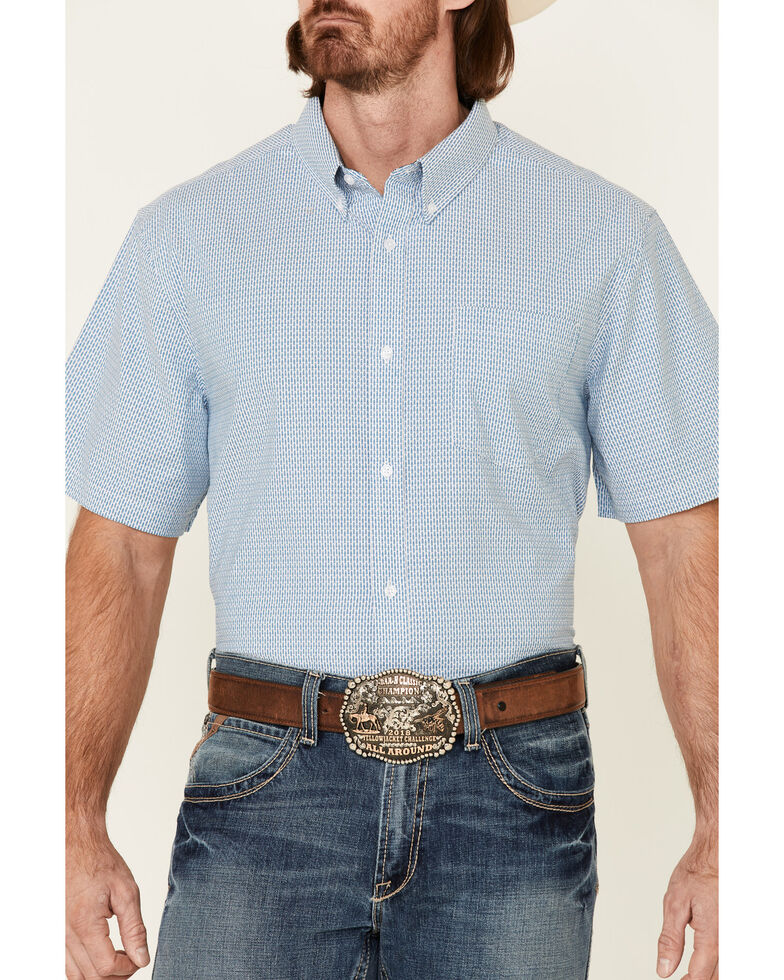Cody James Core Men's Zion Dobby Stripe Short Sleeve Button-Down Western Shirt , Blue, hi-res