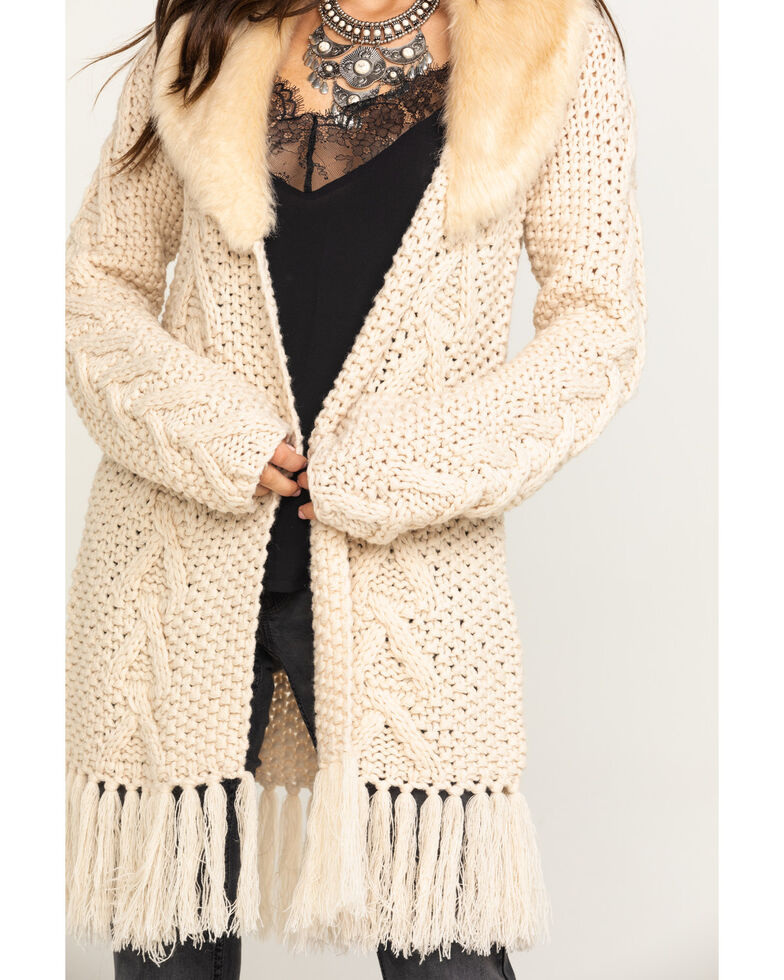 Stetson Women's Cable Knit Faux Fur Cardigan , White, hi-res