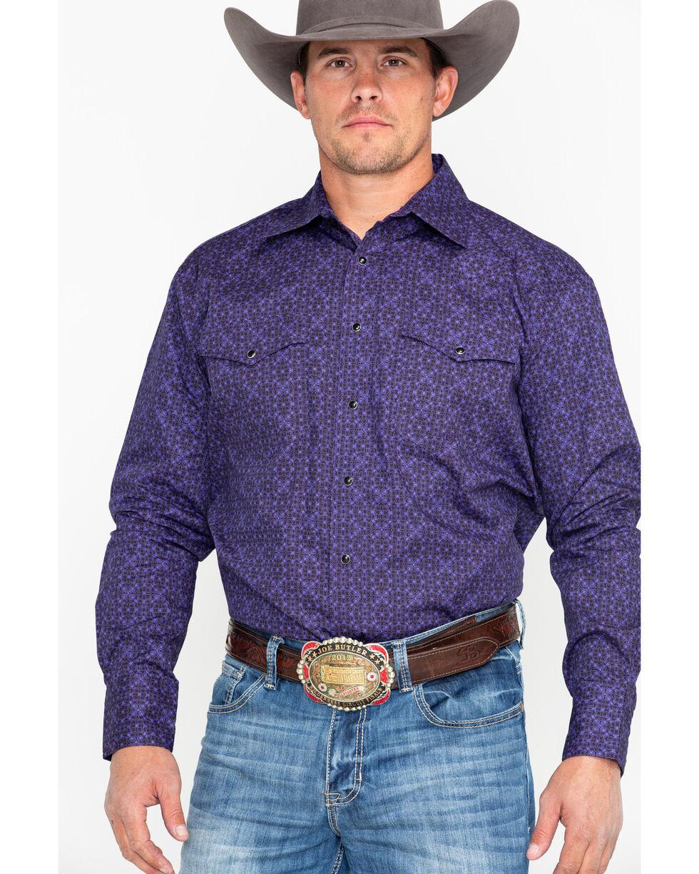 Roper Men's Purple Print Long Sleeve Western Shirt, Purple, hi-res