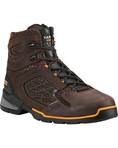 "Ariat Men's Rebar 6"" Flex Brown Work Boots - Composite Toe, Chocolate, hi-res"