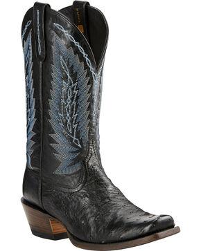 Ariat Men's Black Full Quill Ostrich Exotic Boots, Black, hi-res