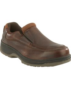 Florsheim Men's Lucky Slip-On Shoes - Steel Toe, Brown, hi-res