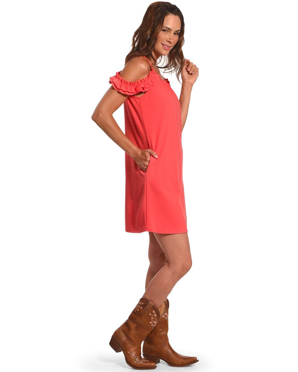 CES FEMME Women's Coral Open Shoulder Dress , Coral, hi-res