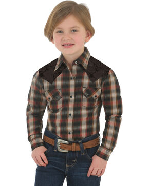 Wrangler Boy's Plaid Long Sleeve Shirt, Black, hi-res