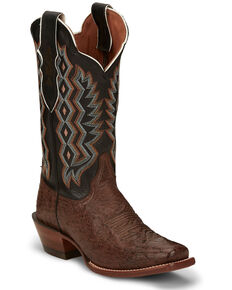 Justin Women's Magnolia Smooth Ostrich Western - Narrow Square Toe, Dark Brown, hi-res