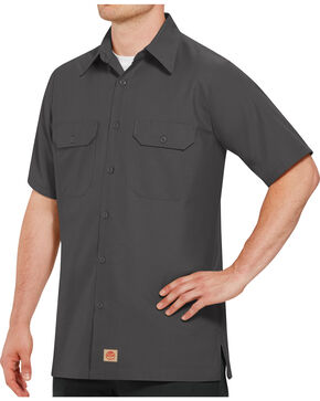 Red Kap Men's Solid Color Rip Stop Short Sleeve Work Shirt , Charcoal Grey, hi-res