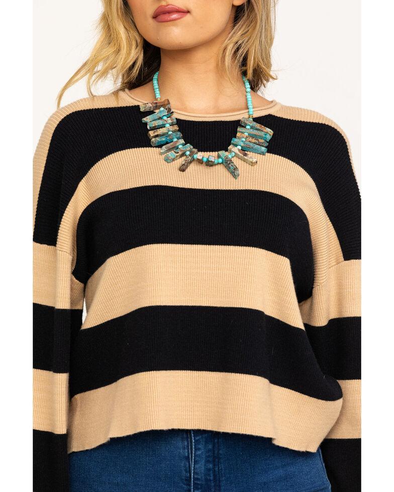 Show Me Your Mumu Women's Black & Tan Scholar Hubble Stripe Knit Sweater, Black, hi-res