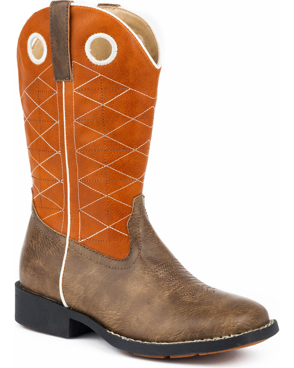 Roper Boys' Boone Criss Cross Embroidered Cowboy Boots - Square Toe, Brown, hi-res