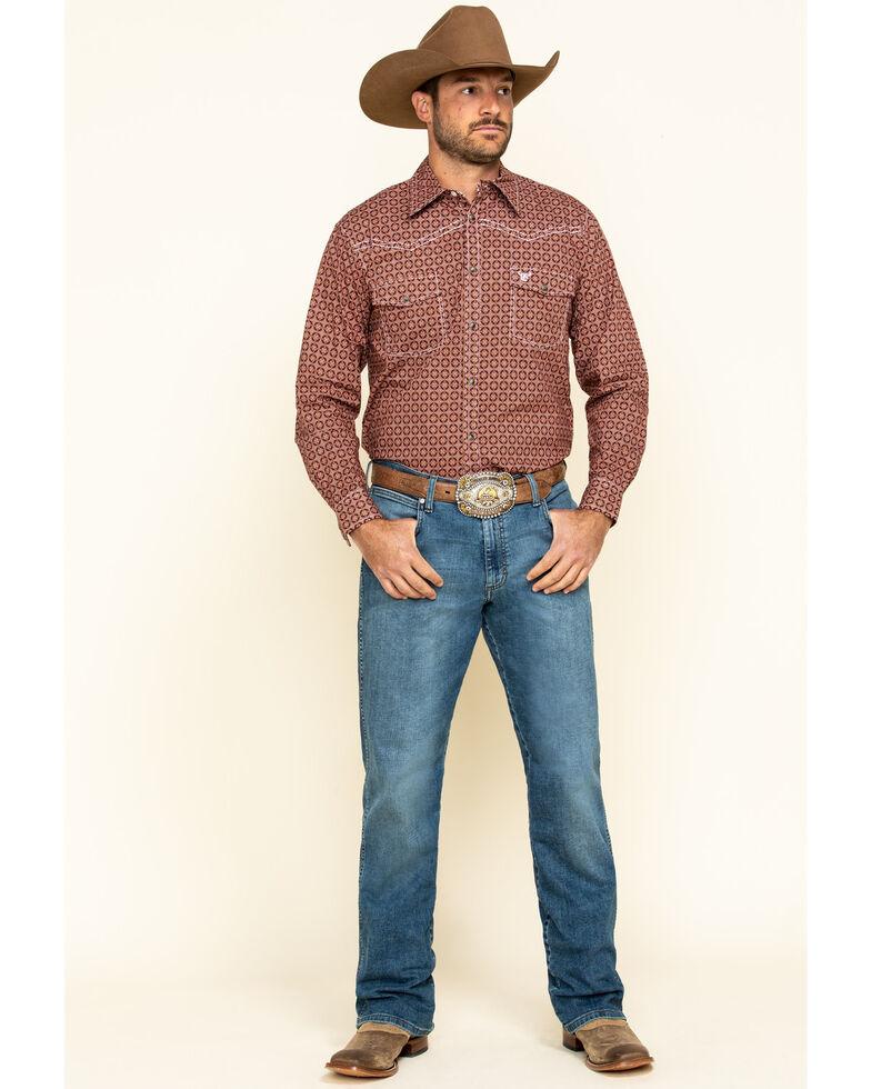 Cowboy Hardware Men's Rust Snowflake Geo Print Long Sleeve Western Shirt , Rust Copper, hi-res