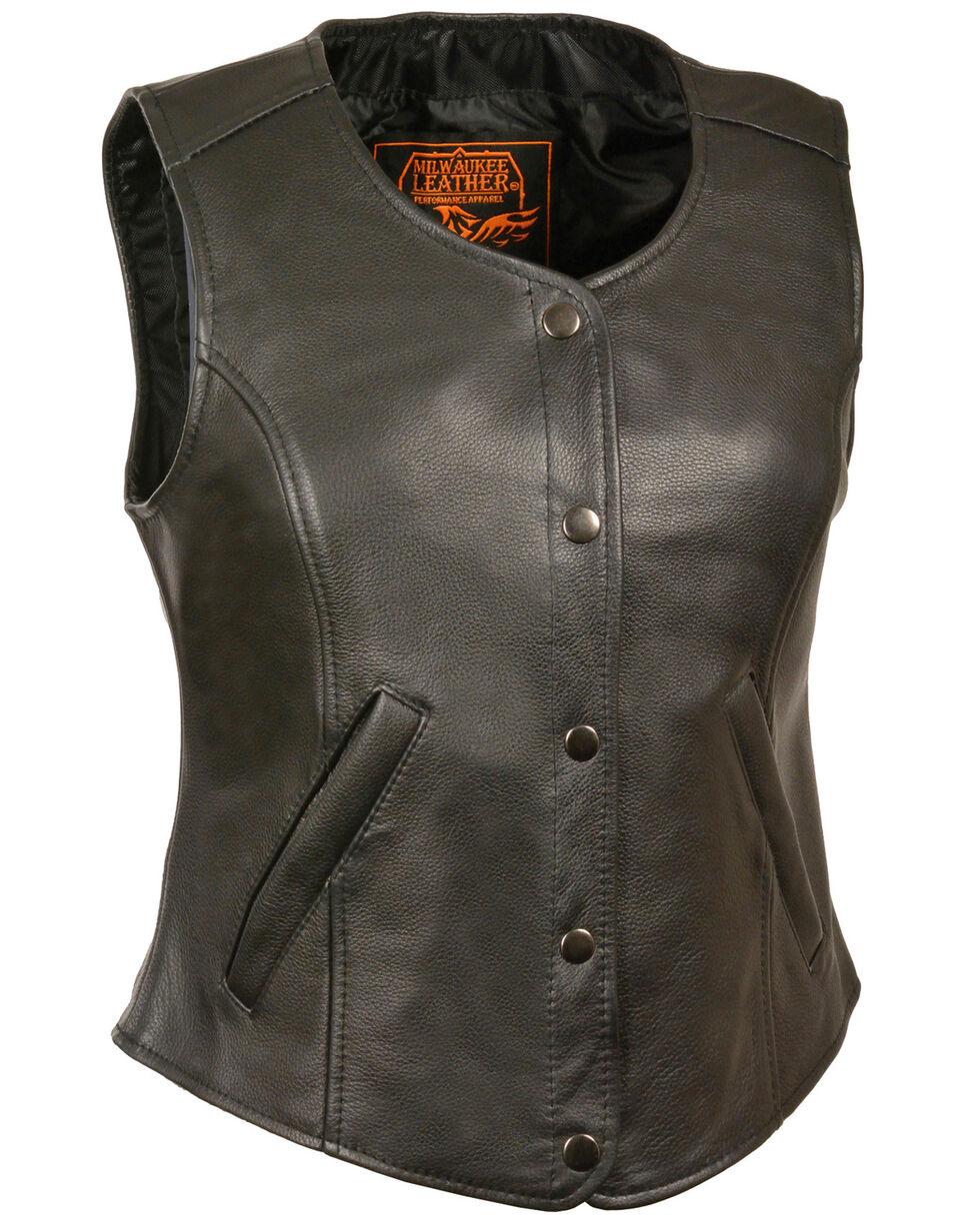 Milwaukee Leather Women's Snap Front Long Body Vest - 3X, Black, hi-res