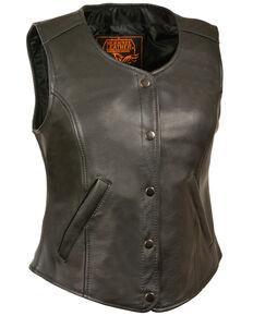 Milwaukee Leather Women's Snap Front Long Body Vest - 4X, Black, hi-res