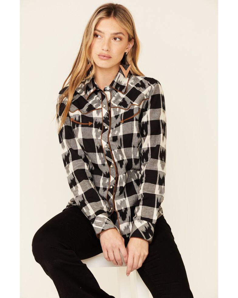 Panhandle Women's Buffalo Ikat Plaid Long Sleeve Snap Western Core Shirt , Black, hi-res