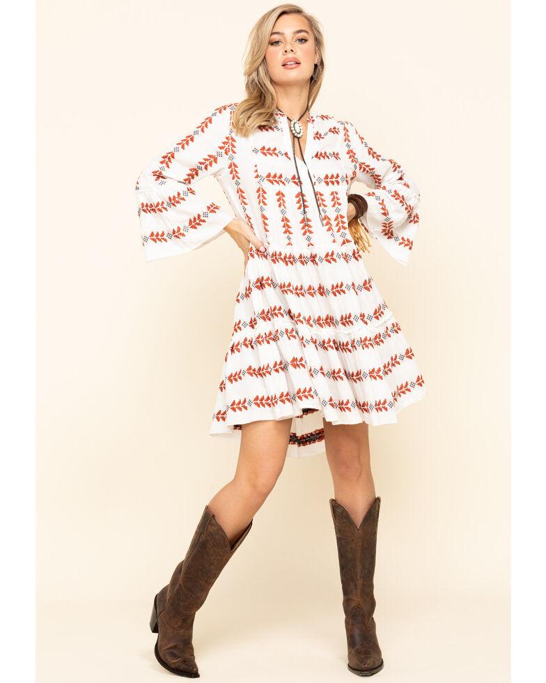 Elan Women's Black Arrow Tiered Peasant Dress, Rust Copper, hi-res
