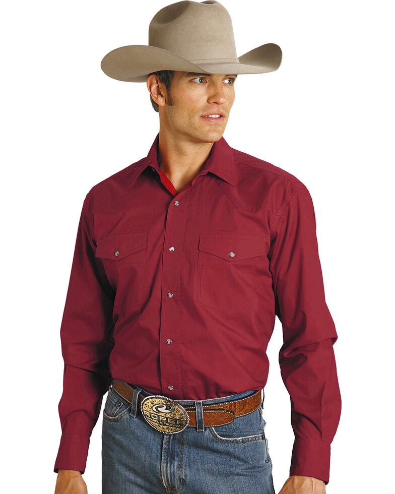 Roper Men's Amarillo Collection Solid Long Sleeve Western Shirt, Red, hi-res