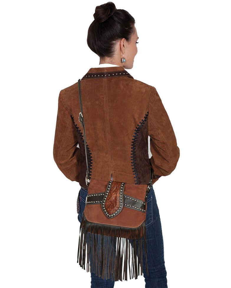 Scully Women's Suede Trim Fringe Handbag, Brown, hi-res
