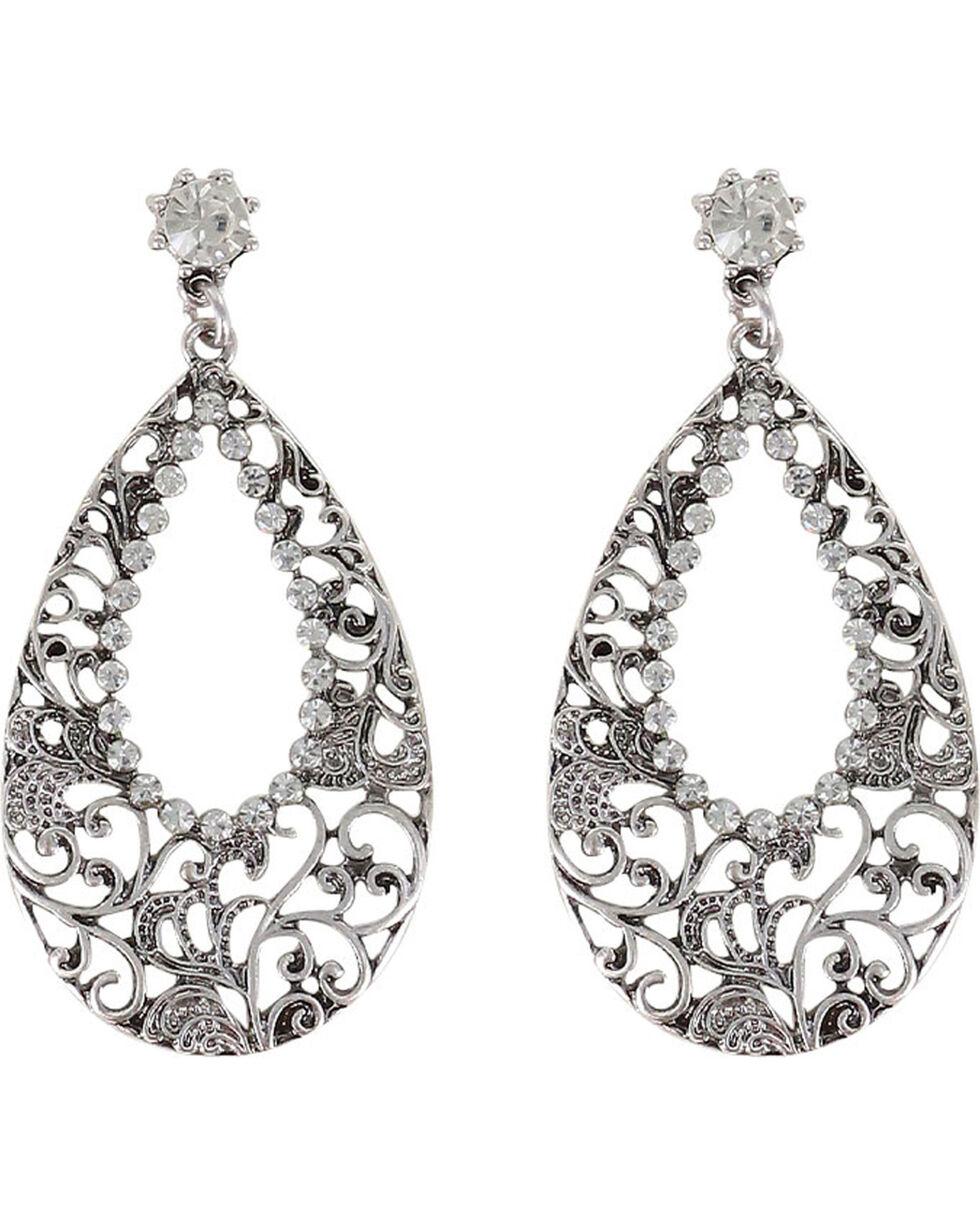 Shyanne® Women's Rhinestone Cutout Teardrop Earrings, Silver, hi-res