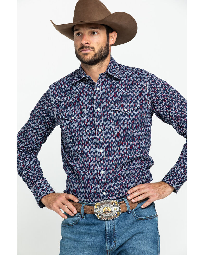 Wrangler Retro Premium Men's Blue Geo Print Long Sleeve Western Shirt , Blue, hi-res