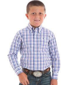 735a1601e4 Wrangler Boys Plaid Long Sleeve Button Down Shirt