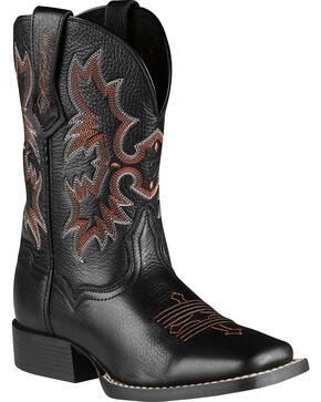 Ariat Boys' Tombstone Black Deertan Cowboy Boots, Black, hi-res