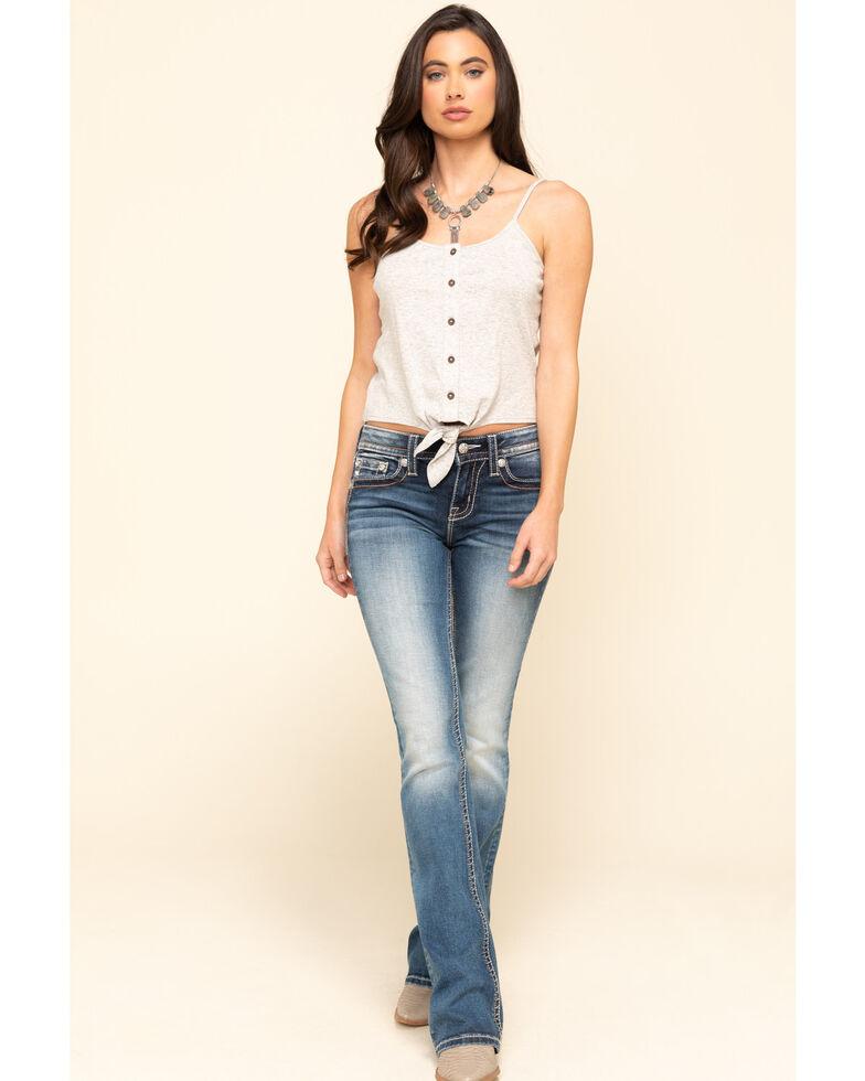 "Miss Me Women's Medium Boho Long Horn 34"" Bootcut Jeans , Blue, hi-res"