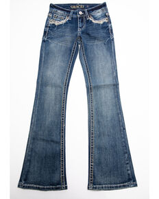 Grace in LA Girls' Horseshoe Bootcut Jeans , Blue, hi-res